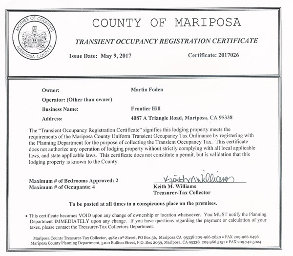 County Tourist tax certificate