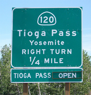 Route 120 into Yosemite via Tioga Pass